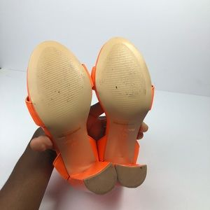 ASOS Shoes - •ASOS• Neon Orange Criss Criss Ankle Chunky Heels